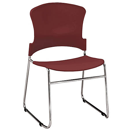 """OFM Multi-Use Stack Chair, Plastic Seat & Back, 33""""H x 21""""W x 22""""D, Wine, Pack Of 4"""