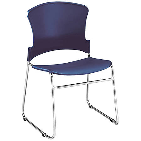 "OFM Multi-Use Stack Chair, Plastic Seat & Back, 33""H x 21""W x 22""D, Navy, Pack Of 4"