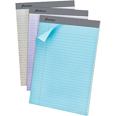 "Ampad Pastel Legal - ruled Perforated Pads - Letter - 50 Sheets - 0.34"" Ruled - 15 lb Basis Weight - 8 1/2"" x 11"" - Micro Perforated - 6 / Pack"