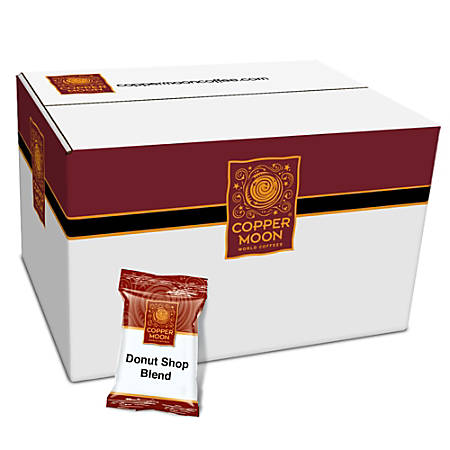 Copper Moon Pre-Portioned Ground Coffee Packs, Donut Shop Blend, 2 Oz, Box Of 42 Packs