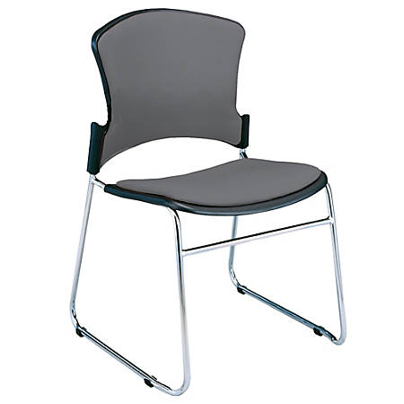 OFM Multi-Use Stack Chairs, Fabric Seat & Back, Gray, Set Of 4