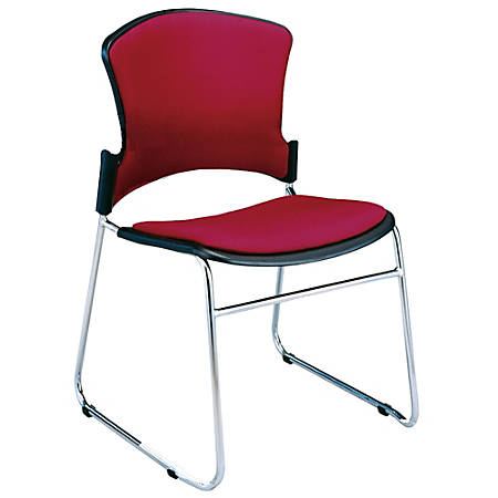"OFM Multi-Use Stack Chairs, Fabric Seat & Back, 33""H x 21""W x 22""D, Wine, Set Of 4"