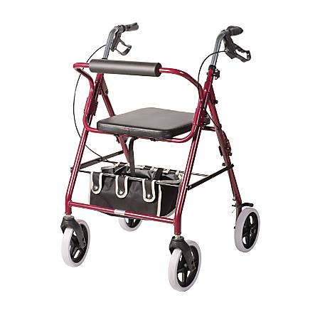 "DMI® Adjustable Steel Rollator Walker With Backrest, 38 1/2""H x 25""W x 29 1/2""D, Burgundy"