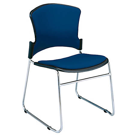 """OFM Multi-Use Stack Chairs, Fabric Seat & Back, 33""""H x 21""""W x 22""""D, Navy, Set Of 4"""