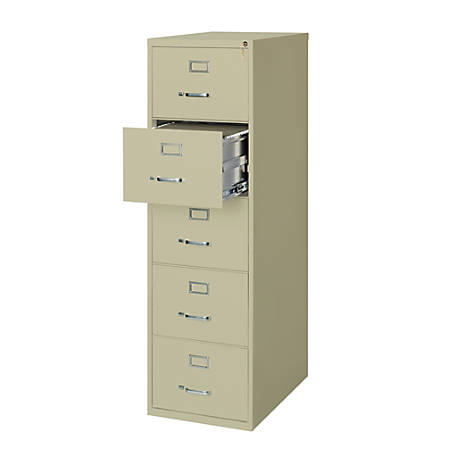 "WorkPro® 26 1/2""D 5-Drawer Legal-Size Metal Vertical File Cabinet, Putty"