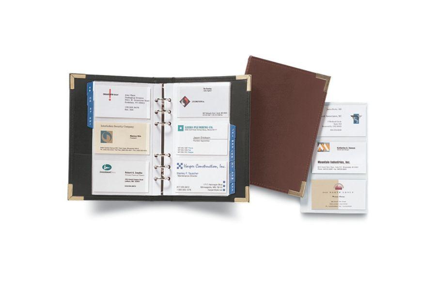Rolodex Small Business Card Binder 120 Card Capacity 5 12 x 8 Black