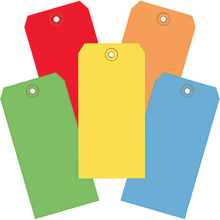 "Office Depot® Brand Shipping Tags, 100% Recycled, 6 1/4"" x 3 1/8"", Assorted Colors, Case Of 1,000"