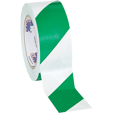 """BOX Packaging Striped Vinyl Tape, 3"""" Core, 2"""" x 36 Yd., Green/White, Case Of 3"""