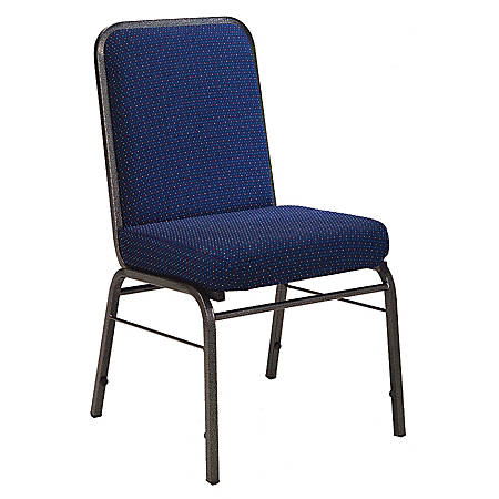 "OFM ComfortClass Heavy-Duty Stack Chairs, 35 1/2""H x 19 1/2""W x 24""D, Pinpoint Navy Fabric, Set Of 6"