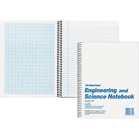 """Rediform Engineering and Science Notebook - Letter - 60 Sheets - Wire Bound - Both Side Ruling Surface Light Blue Margin - 16 lb Basis Weight - 8 1/2"""" x 11"""" - White Paper - White Cover - Unpunched, Heavyweight, Hard Cover - 1Each"""