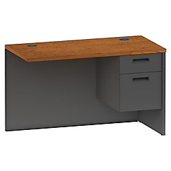 "Lorell® 97000 Series Metal Return Desk, Right, 48""W, Cherry/Charcoal"