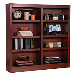Concepts In Wood Double-Wide Bookcase, 8 Shelves, Cherry