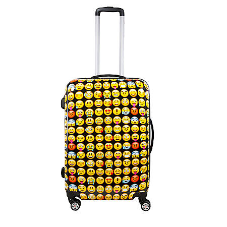"ful Emoji ABS Upright Rolling Suitcase, 28""H x 20 1/2""W x 11 1/2""D, Yellow"