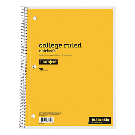 "Just Basics™ Spiral Notebook, 8"" x 10-1/2"", 1 Subject, College Ruled, 70 Sheets, Yellow"