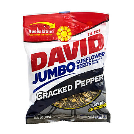 David Jumbo Sunflower Seed Pouches, Cracked Pepper, 5.25 Oz, Box Of 12