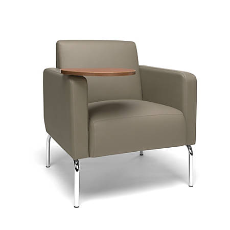 OFM Triumph Series Lounge Chair With Tablet, Bronze Tablet, Taupe/Chrome