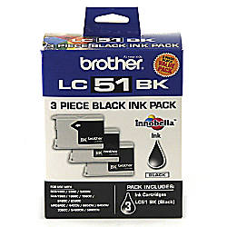 Brother LC51BK Black Ink Cartridges Pack