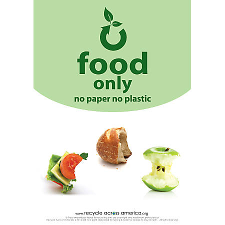 """Recycle Across America Food Standardized Recycling Label, FOOD-1007, 10"""" x 7"""", Light Green"""