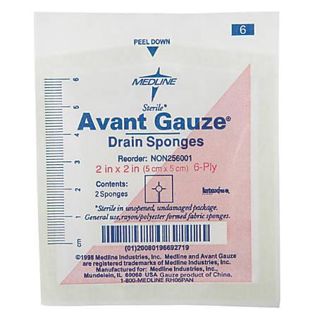 """Medline Avant Sterile Gauze Drain Sponges, 2"""", White, 70 Sponges Per Box, Case Of 40 Boxes"""