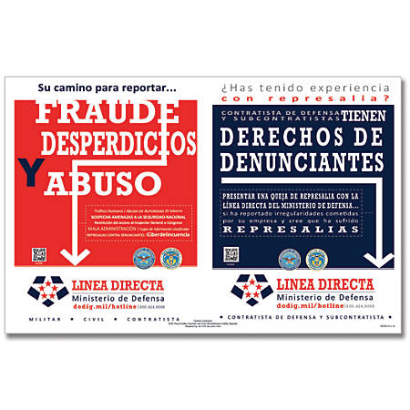 """ComplyRight Department Of Defense Fraud And Whistleblower Hotline Poster, Spanish, 17"""" x 11"""""""