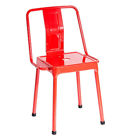 LumiSource Energy Chairs, Gloss Red/Red, Set Of 2