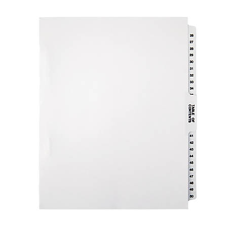 Office Depot® Brand Legal Index Exhibit Unpunched Dividers With Laminated Tabs, Black/White, Numbered 26-50