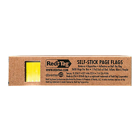 """Redi-Tag Assorted Color Small Page Flags Bulk - 900 x Red, 900 x Yellow, 900 x Blue, 900 x Purple - 1"""" x 0.18"""" - Rectangle - Assorted - Repositionable - 900 / Pack"""