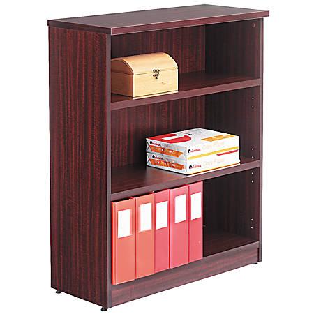 Alera® Valencia Series Bookcase/Storage Cabinet, 3 Shelves, Mahogany