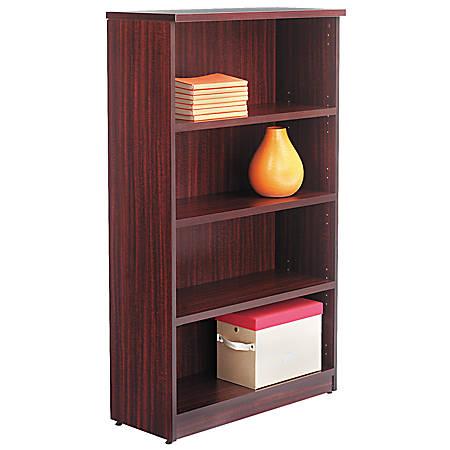 Alera® Valencia Series Bookcase/Storage Cabinet, 4 Shelves, Mahogany