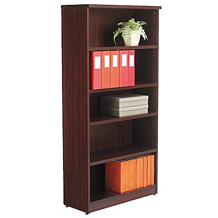 Alera® Valencia Series Bookcase/Storage Cabinet, 5 Shelves, Mahogany