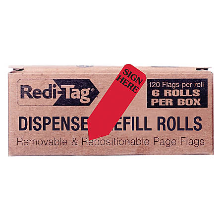 """Redi-Tag Sign Here Reversible Red Refill Rolls - 720 - 1.87"""" x 0.56"""" - Arrow - """"SIGN HERE"""" - Red - Removable - 100 / Box"""