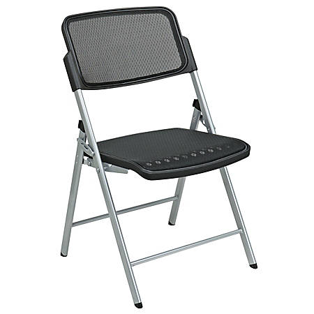 Office Star® Pro-Line II ProGrid 2-Pack Folding Chairs, Black/Silver