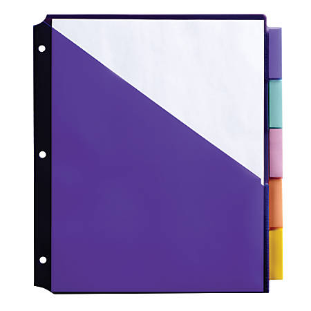 "Office Depot® Brand Double Pocket Insertable Plastic Divider, 5-Tab, 9 1/2"" x 11 1/4"", Assorted Colors"