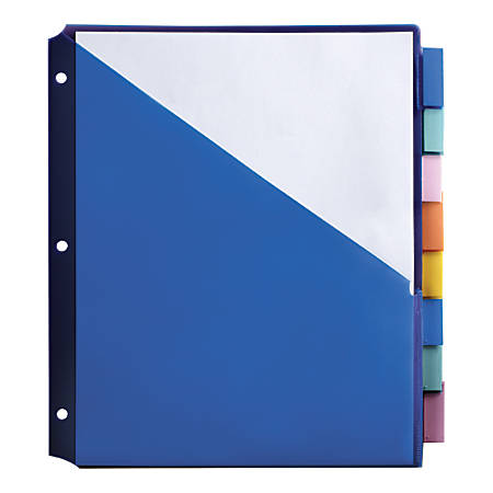 "Office Depot® Brand Double-Pocket Insertable Plastic Divider, 8-Tab, 9 1/2"" x 11 1/4"", Assorted Colors"