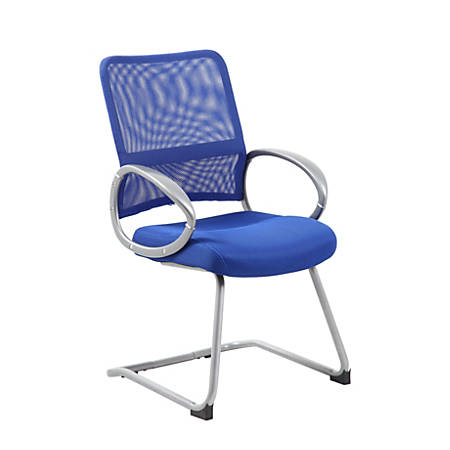 Boss Mesh Guest Chair, Blue Seat/Pewter Frame