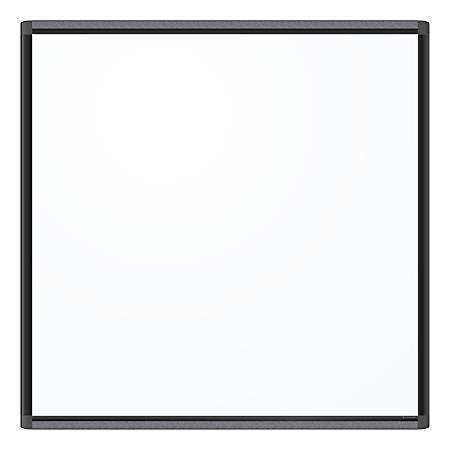 "U Brands PINIT Magnetic Dry-Erase Board, 36"" x 36"", White, Black Aluminum Frame"