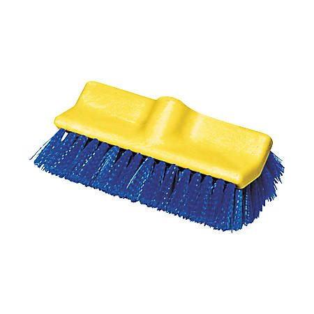 Rubbermaid Commercial Bi-Level Deck Scrub Brush, Poly Fibers, 10 Plastic Block, Tapered Hole, 1 Brush