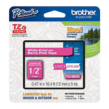 """Brother® TZe-MQP35 White-On-Berry Pink Tape, 0.5"""" x 196.8"""""""