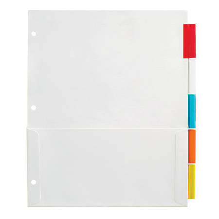 """Office Depot® Brand Insertable Pocket Dividers With Tabs, 9 1/8"""" x 11 1/4"""", Assorted Colors, 5-Tab"""