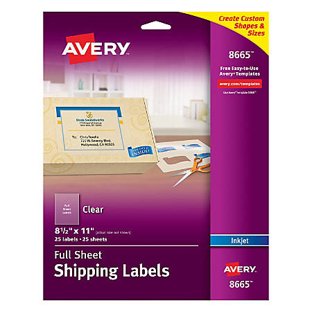 Avery® Easy Peel® Clear Full-Sheet Labels, 8665, Full Sheet, 8 1/2