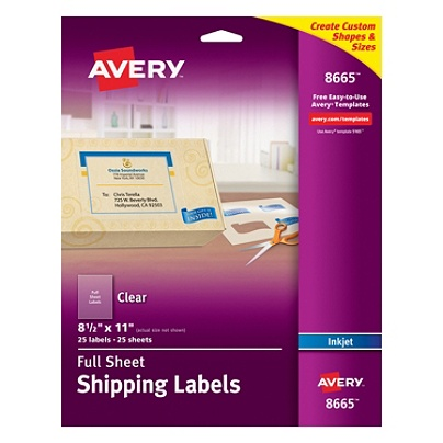 avery easy peel clear full sheet labels 8665 full sheet 8 12 x 11 box of 25 by office depot officemax