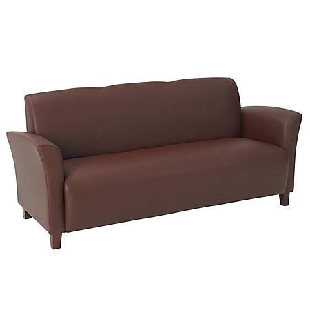 "Office Star™ Breeze Eco-Leather Club Sofa, 32""H x 72""W x 28 1/2""D, Wine"