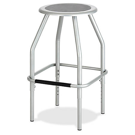 "Safco Diesel Adjustable Height Steel Stool - Polyurethane Seat - Powder Coated Steel Silver Frame - Four-legged Base - Silver - 17.5"" Width x 17.5"" Depth x 29.5"" Height"