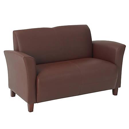 "Office Star® Breeze Eco-Leather Loveseat, 32""H x 52 1/2""W x 28 1/2""D, Wine"