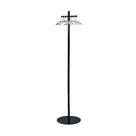 "Safco® Nail-Head Coat Tree, 67"" x 15"", Black"