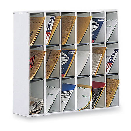 """Safco® Wood Mail Sorter, 32 3/4""""H x 33 3/4""""W x 12""""D, Gray"""