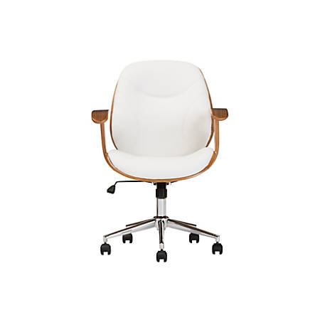 Baxton Studio Vincent Faux Leather Mid-Back Office Chair, White/Walnut