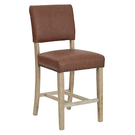 Ave Six Carson Faux Leather Counter Stool, Elite Saddle/Sand