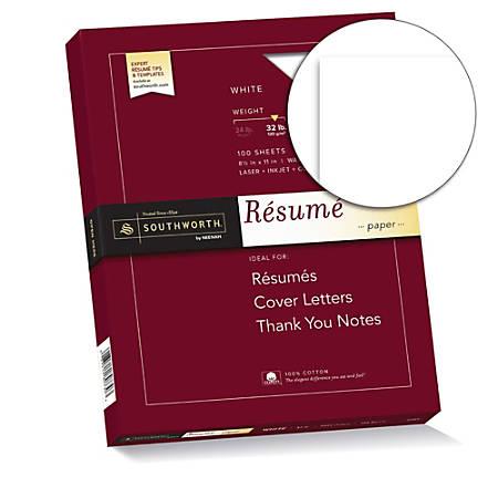 """Southworth® 100% Cotton Résumé Paper, 8 1/2"""" x 11"""", 32 Lb, 100% Recycled, White, Pack Of 100"""