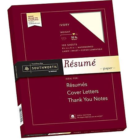 """Southworth® 100% Cotton Résumé Paper, 8 1/2"""" x 11"""", 32 Lb, 100% Recycled, Ivory, Pack Of 100"""
